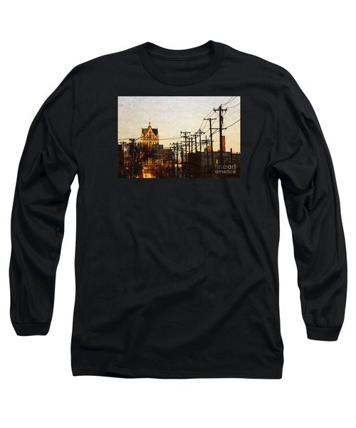 Long Sleeve T-Shirt featuring the digital art 100 East Wisconsin by David Blank