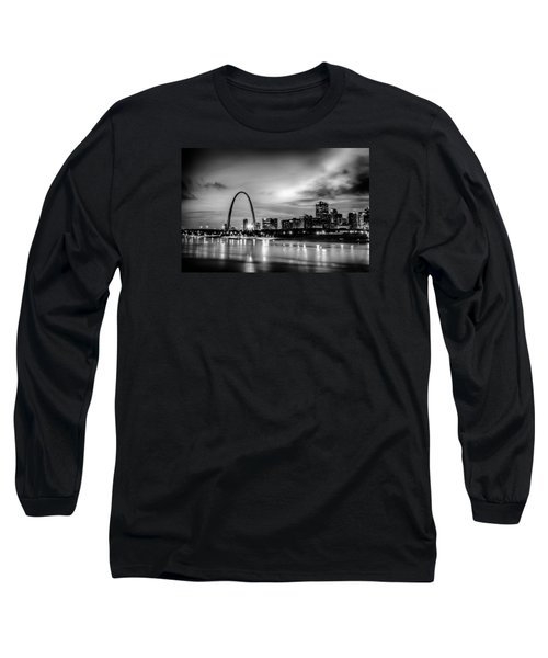 City Of St. Louis Skyline. Image Of St. Louis Downtown With Gate Long Sleeve T-Shirt by Alex Grichenko