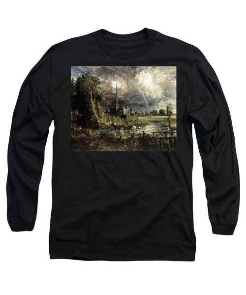 Salisbury Cathedral From The Meadows Long Sleeve T-Shirt