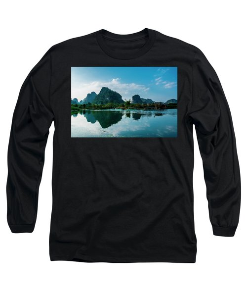 The Karst Mountains And River Scenery Long Sleeve T-Shirt
