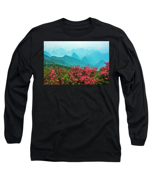 Blossoming Azalea And Mountain Scenery Long Sleeve T-Shirt