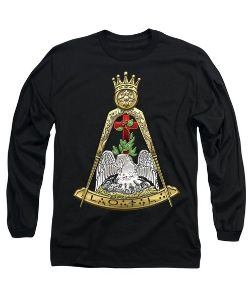 18th Degree Mason - Knight Rose Croix Masonic Jewel  Long Sleeve T-Shirt by Serge Averbukh