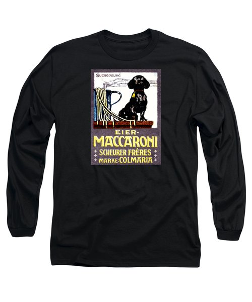1910 Dachshund And Macaroni Poster    Long Sleeve T-Shirt by Historic Image