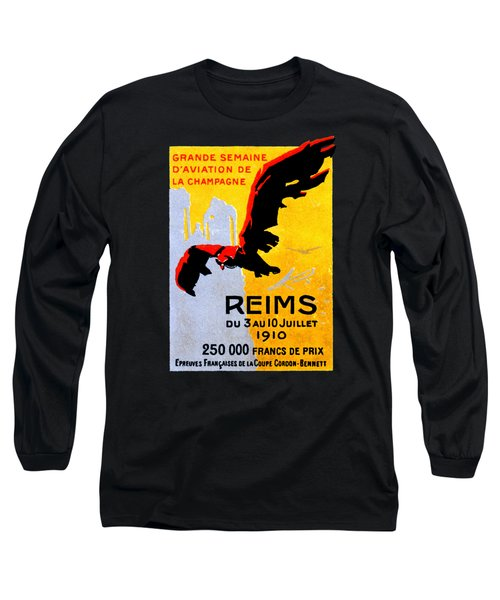 1910 Reims Air Show Long Sleeve T-Shirt by Historic Image