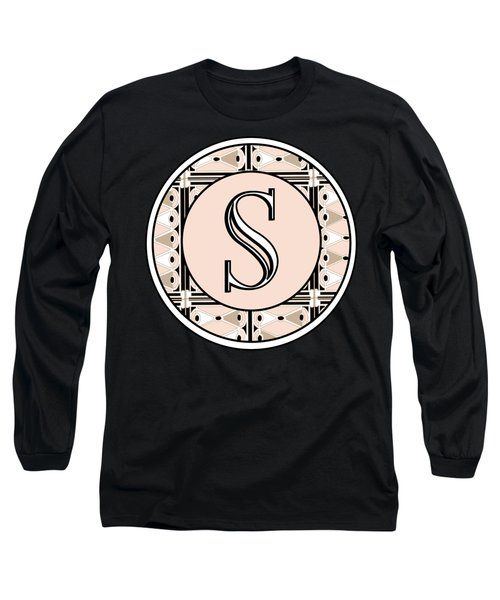 1920s Pink Champagne Deco Monogram  S Long Sleeve T-Shirt