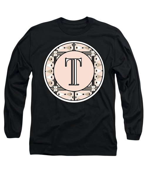 1920s Pink Champagne Deco Monogram  T Long Sleeve T-Shirt