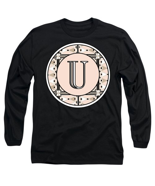 1920s Pink Champagne Deco Monogram  U Long Sleeve T-Shirt
