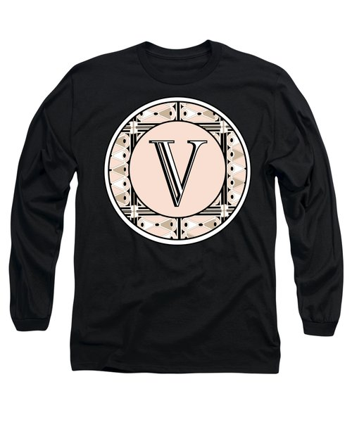 1920s Pink Champagne Deco Monogram  V Long Sleeve T-Shirt