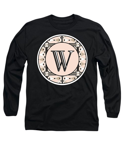 1920s Pink Champagne Deco Monogram  W Long Sleeve T-Shirt