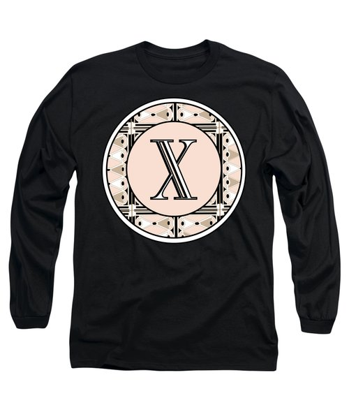 1920s Pink Champagne Deco Monogram  X Long Sleeve T-Shirt