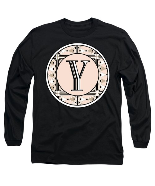 1920s Pink Champagne Deco  Monogram  Y Long Sleeve T-Shirt