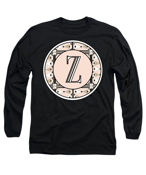 1920s Pink Champagne Deco Monogram  Z Long Sleeve T-Shirt