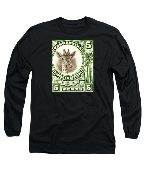 1922 East African Giraffe Stamp Long Sleeve T-Shirt by Historic Image