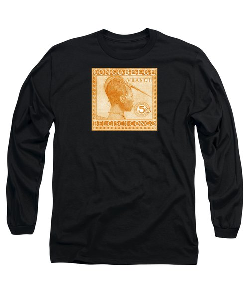 Long Sleeve T-Shirt featuring the painting 1923 Belgian Congo Ubangi Woman by Historic Image