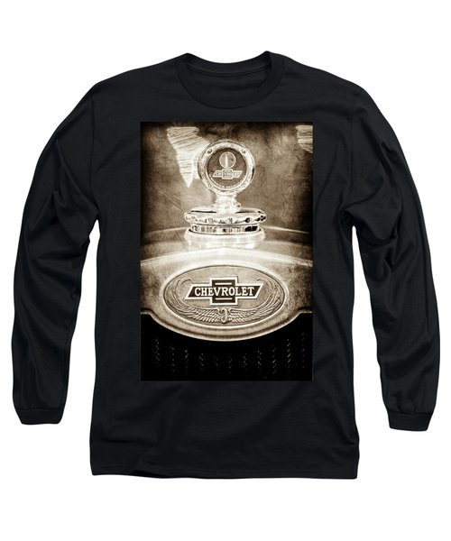 Long Sleeve T-Shirt featuring the photograph 1928 Chevrolet 2 Door Coupe Hood Ornament Moto Meter -0789s by Jill Reger