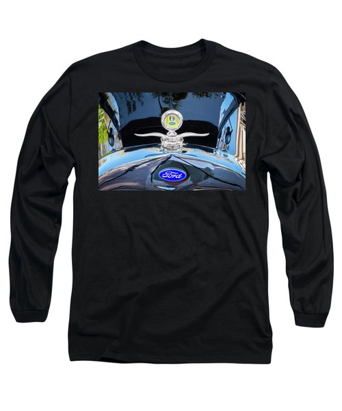 1929 Ford Model A Hood Ornament  Long Sleeve T-Shirt by Rich Franco