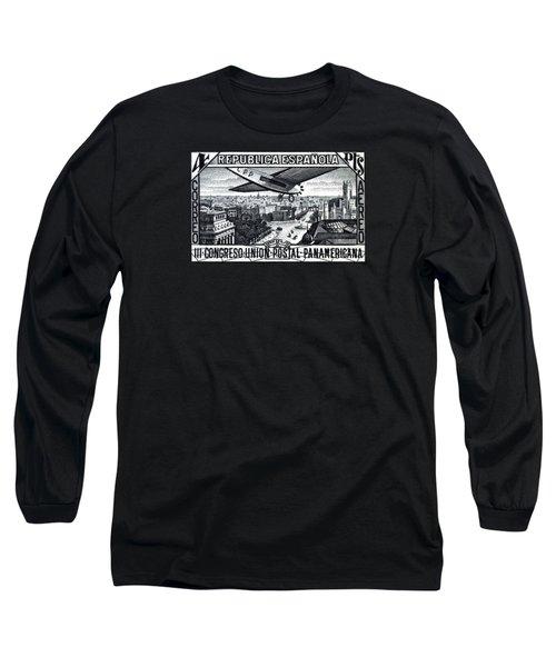 1931 Airplane Over Calle De Alcala, Spain Long Sleeve T-Shirt