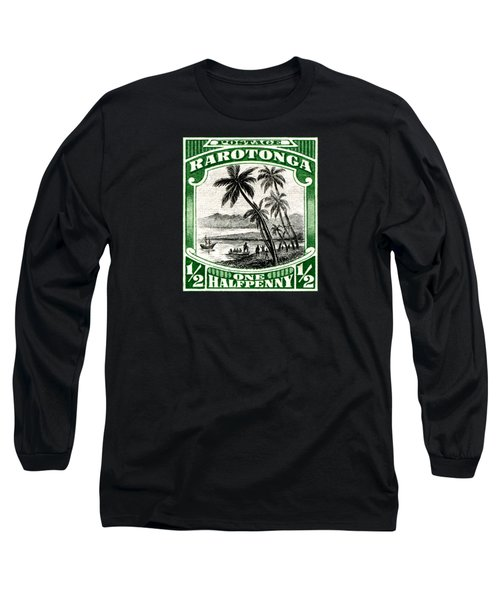Long Sleeve T-Shirt featuring the painting 1932 Landing Of Captain Cook Stamp by Historic Image