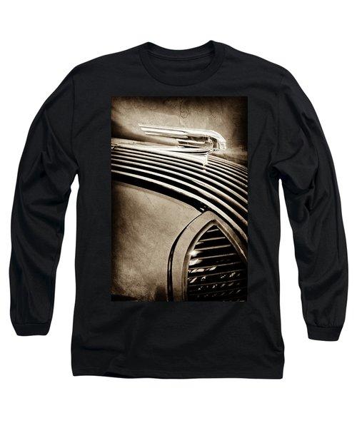 Long Sleeve T-Shirt featuring the photograph 1936 Pontiac Hood Ornament -1140s by Jill Reger