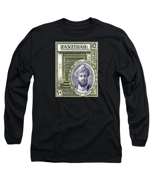 Long Sleeve T-Shirt featuring the painting 1936 Sultan Of Zanzibar Stamp by Historic Image