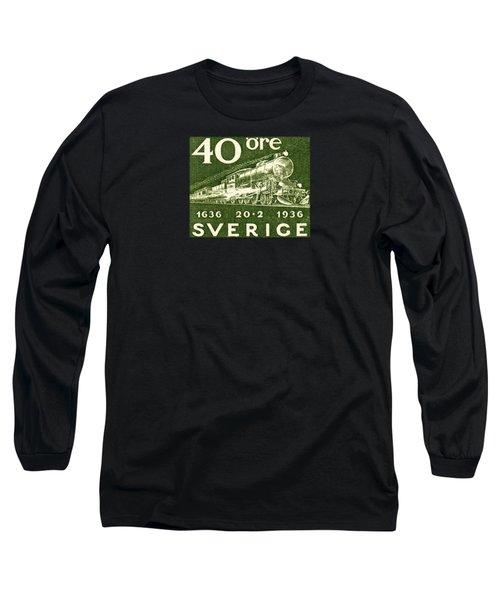1936 Swedish Railroad Stamp Long Sleeve T-Shirt by Historic Image