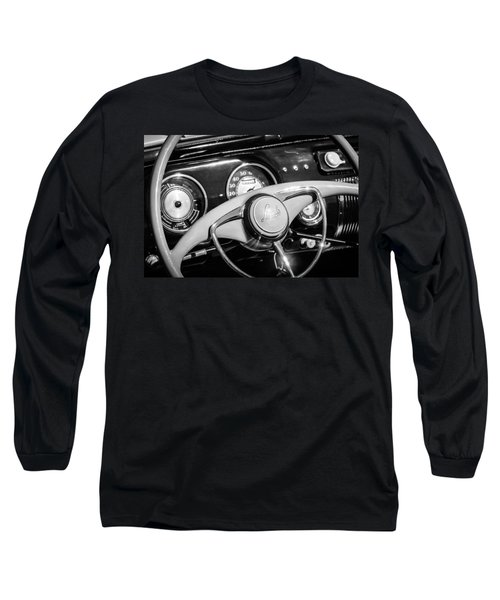 Long Sleeve T-Shirt featuring the photograph 1941 Lincoln Continental Cabriolet V12 Steering Wheel -226bw by Jill Reger