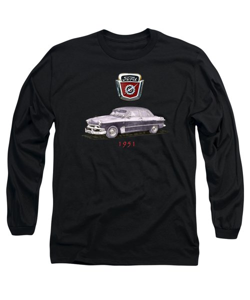 Long Sleeve T-Shirt featuring the painting 1951 Ford Two Door Sedan Tee Shirt Art by Jack Pumphrey