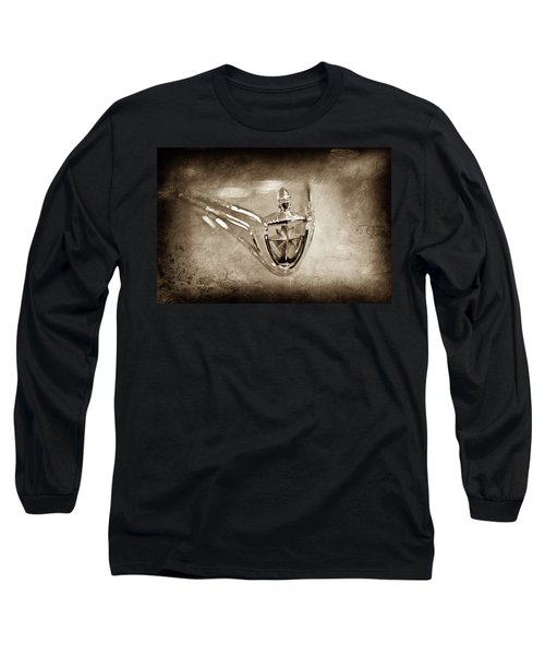 Long Sleeve T-Shirt featuring the photograph 1956 Lincoln Premier Convertible Hood Ornament -0832s by Jill Reger