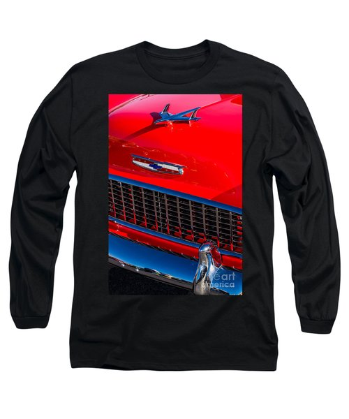 Long Sleeve T-Shirt featuring the photograph 1957 Chevy Hood Ornament by Aloha Art