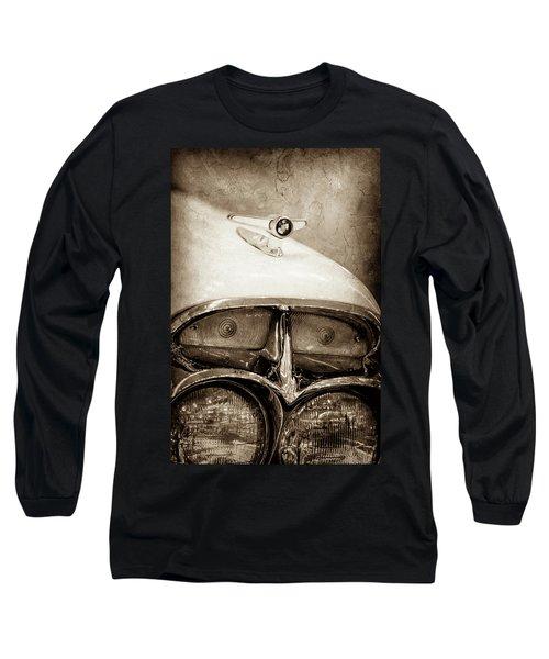 Long Sleeve T-Shirt featuring the photograph 1957 Mercury Turnpike Cruiser Emblem -0749s by Jill Reger