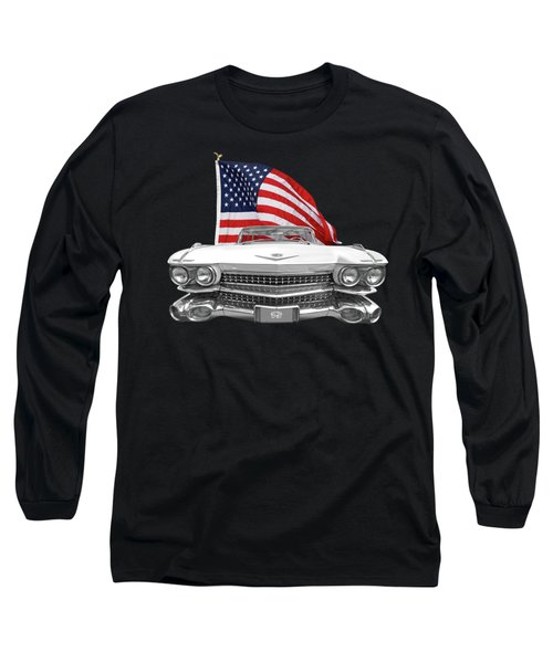 1959 Cadillac With Us Flag Long Sleeve T-Shirt