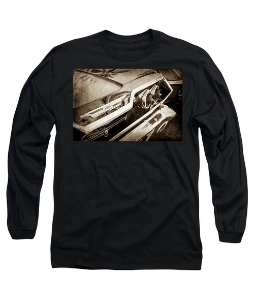Long Sleeve T-Shirt featuring the photograph 1963 Chevrolet Taillight Emblem -0183s by Jill Reger