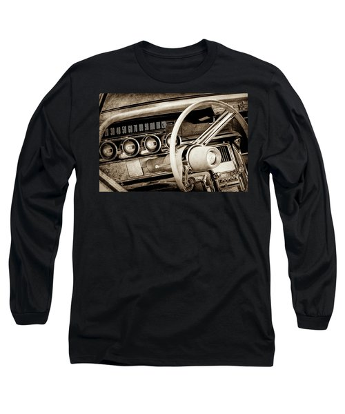 Long Sleeve T-Shirt featuring the photograph 1964 Ford Thunderbird Steering Wheel -0280s by Jill Reger