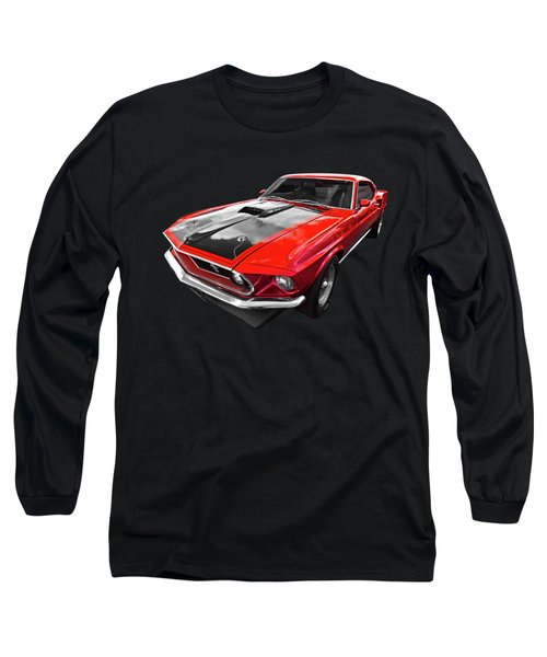 1969 Red 428 Mach 1 Cobra Jet Mustang Long Sleeve T-Shirt