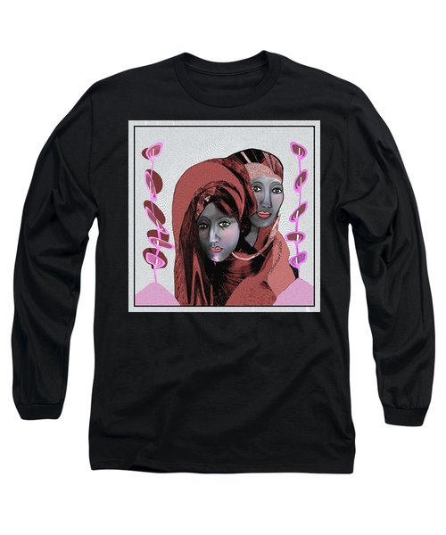 Long Sleeve T-Shirt featuring the digital art 1971- Rosecoloured Portrait 2017 by Irmgard Schoendorf Welch