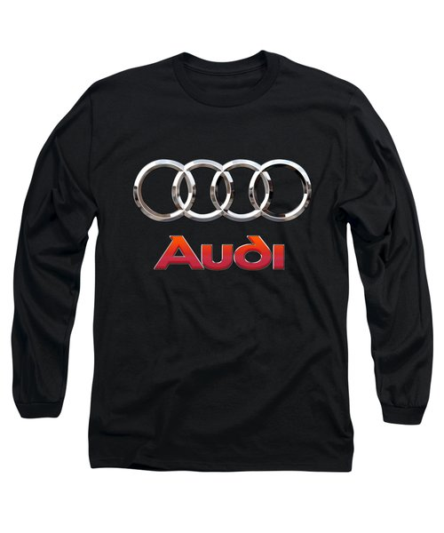 Audi - 3 D Badge On Black Long Sleeve T-Shirt by Serge Averbukh