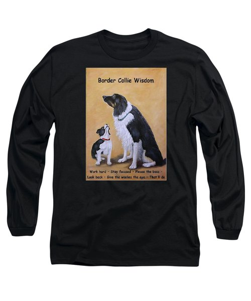 Long Sleeve T-Shirt featuring the painting Border Collie Wisdom by Fran Brooks