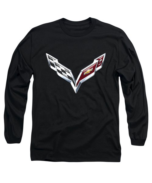 Chevrolet Corvette 3d Badge On Black Long Sleeve T-Shirt by Serge Averbukh