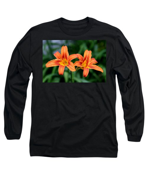 Long Sleeve T-Shirt featuring the photograph 2 Flowers In Side By Side by Paul SEQUENCE Ferguson             sequence dot net