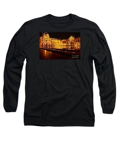 Louvre Pyramid Long Sleeve T-Shirt by Danica Radman
