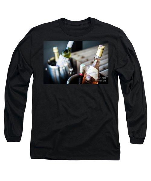 Mixed Bottles Of Gourmet Wine In Ice Chiller Bucket Long Sleeve T-Shirt