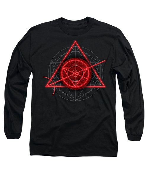 Occult Magick Symbol On Red By Pierre Blanchard Long Sleeve T-Shirt by Pierre Blanchard