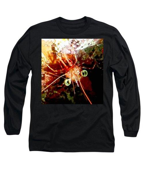 Red Night Shrimp Long Sleeve T-Shirt by Amy McDaniel
