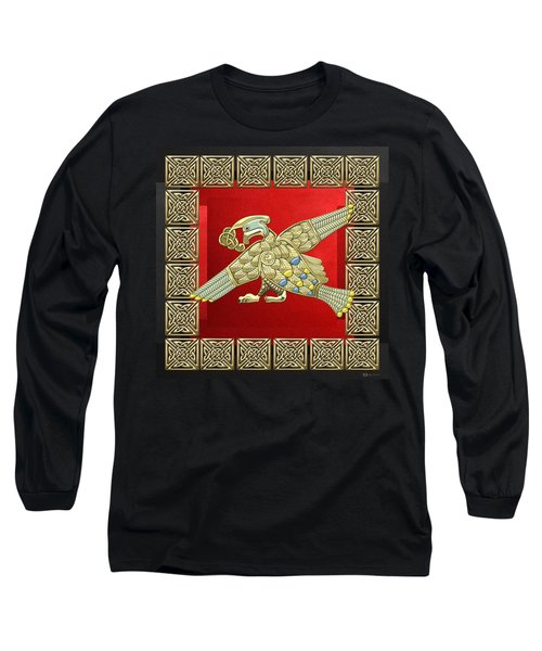Sacred Celtic Bird On Red And Black Long Sleeve T-Shirt by Serge Averbukh