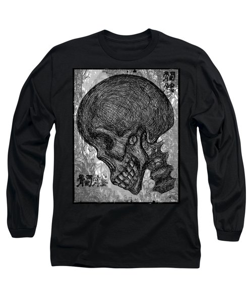 Gothic Skull Long Sleeve T-Shirt by Akiko Okabe