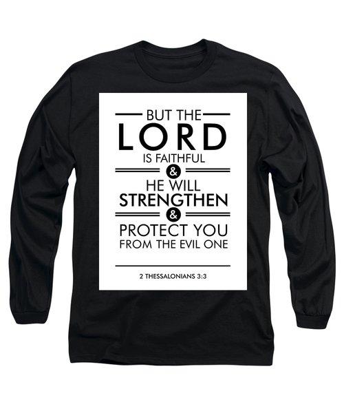 2 Thessalonians 3-3 - Spiritual Wall Art - Bible Verses Art - Minimalist Scripture Long Sleeve T-Shirt