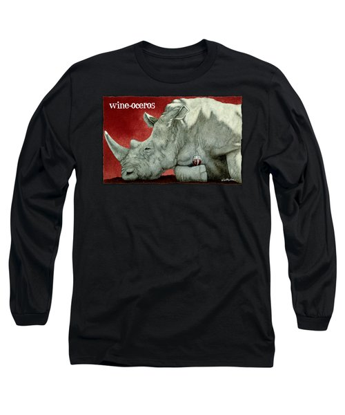Wine-oceros Long Sleeve T-Shirt by Will Bullas