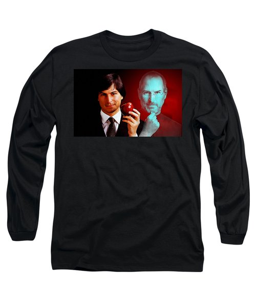 Long Sleeve T-Shirt featuring the mixed media Steve Jobs by Marvin Blaine