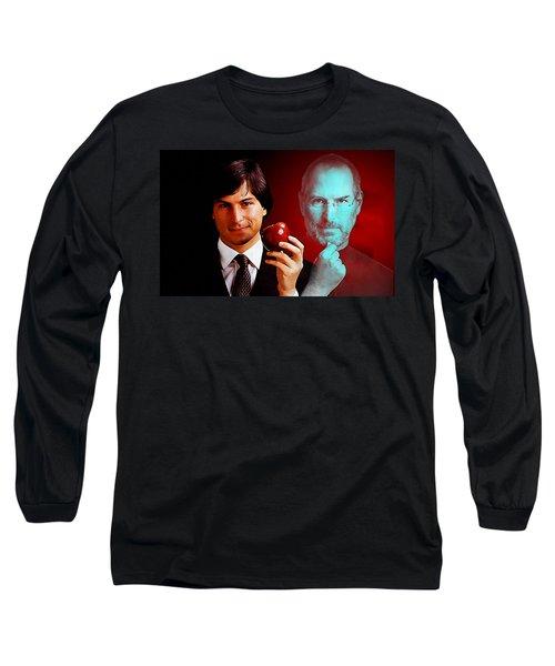 Long Sleeve T-Shirt featuring the mixed media Steve Jobs by Marvin Blaine