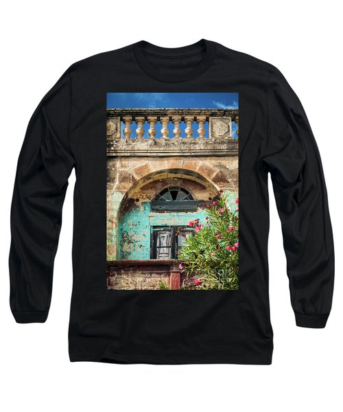 Traditional Mediterranean Maltese House Exterior Detail In Gozo  Long Sleeve T-Shirt